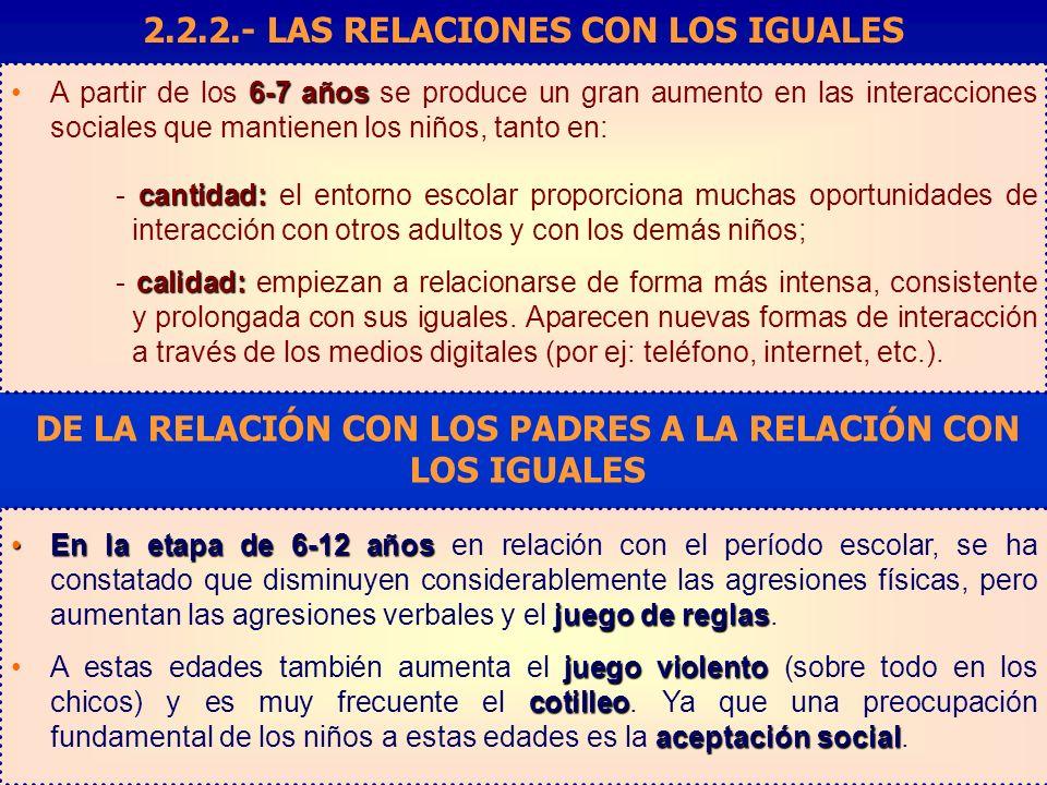 2.2.2.- LAS RELACIONES CON LOS IGUALES