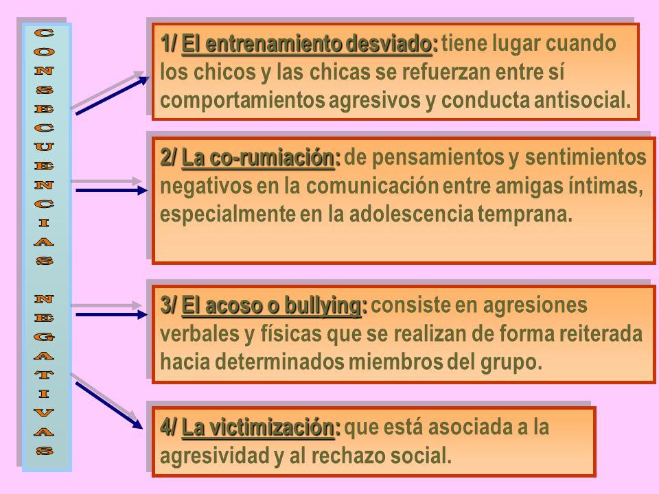 1/ El entrenamiento desviado: tiene lugar cuando los chicos y las chicas se refuerzan entre sí comportamientos agresivos y conducta antisocial.