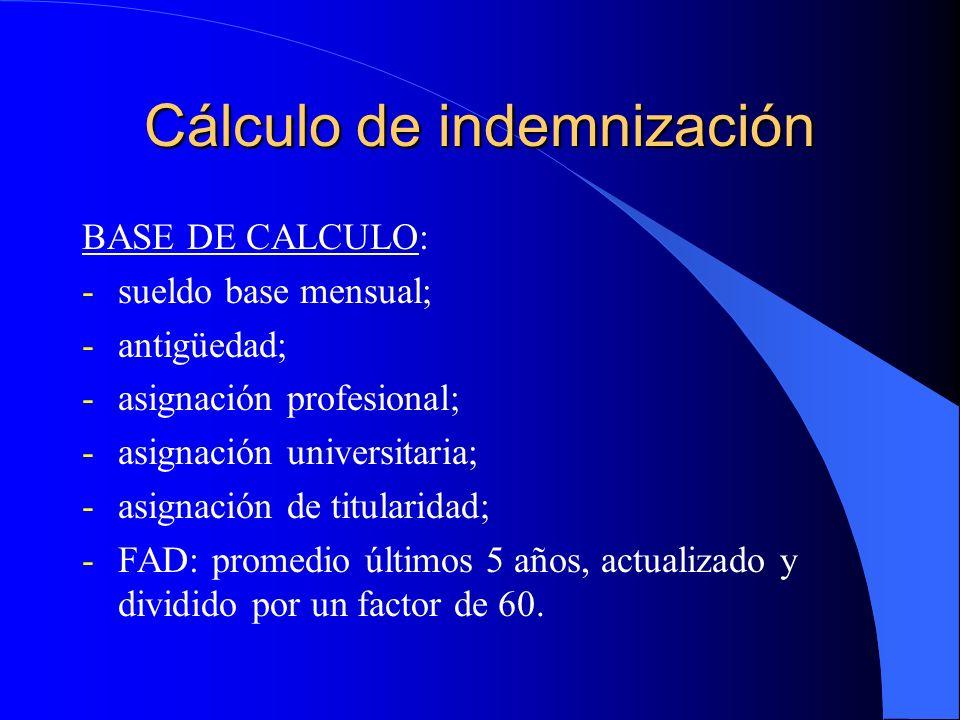 Cálculo de indemnización