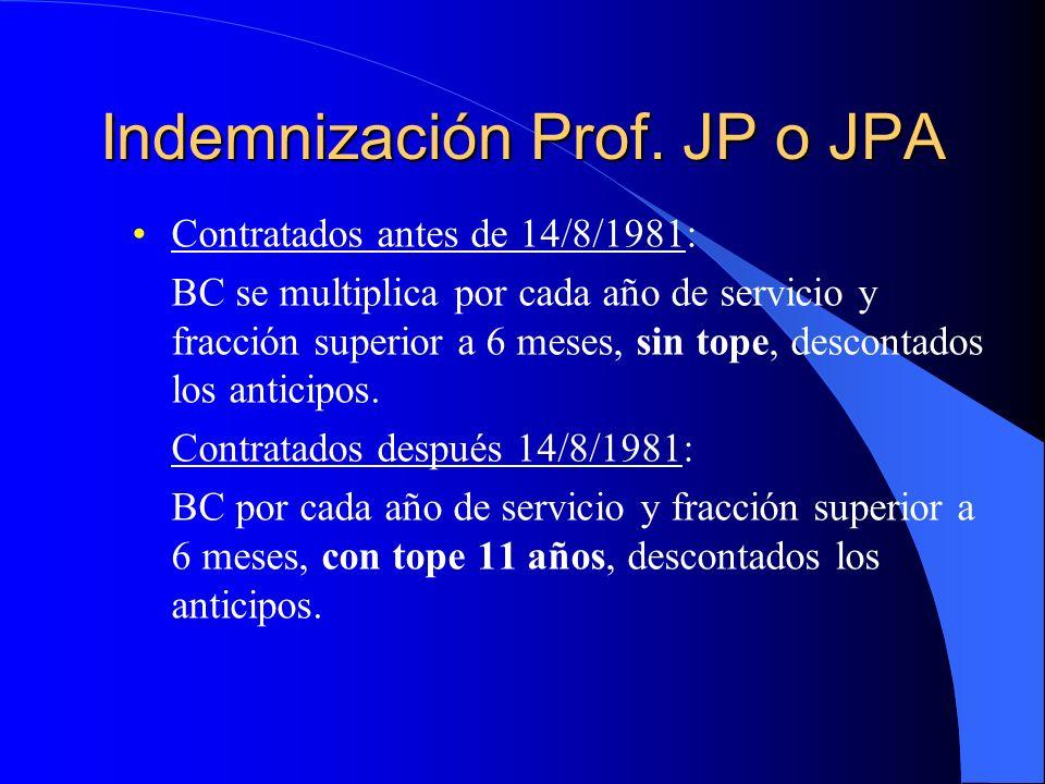 Indemnización Prof. JP o JPA