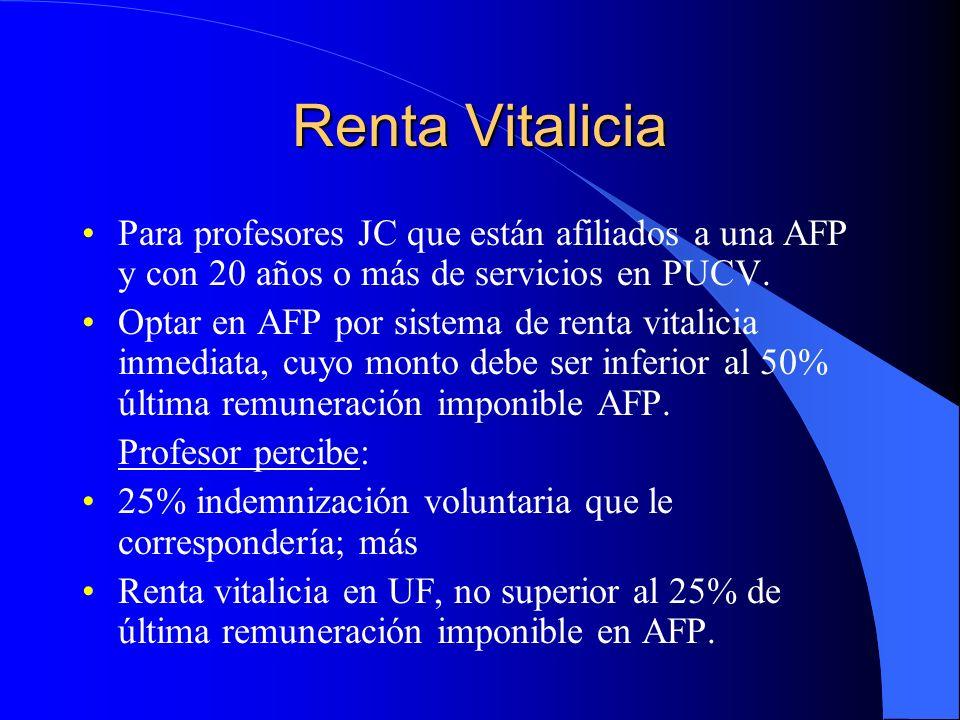 Renta Vitalicia Para profesores JC que están afiliados a una AFP y con 20 años o más de servicios en PUCV.
