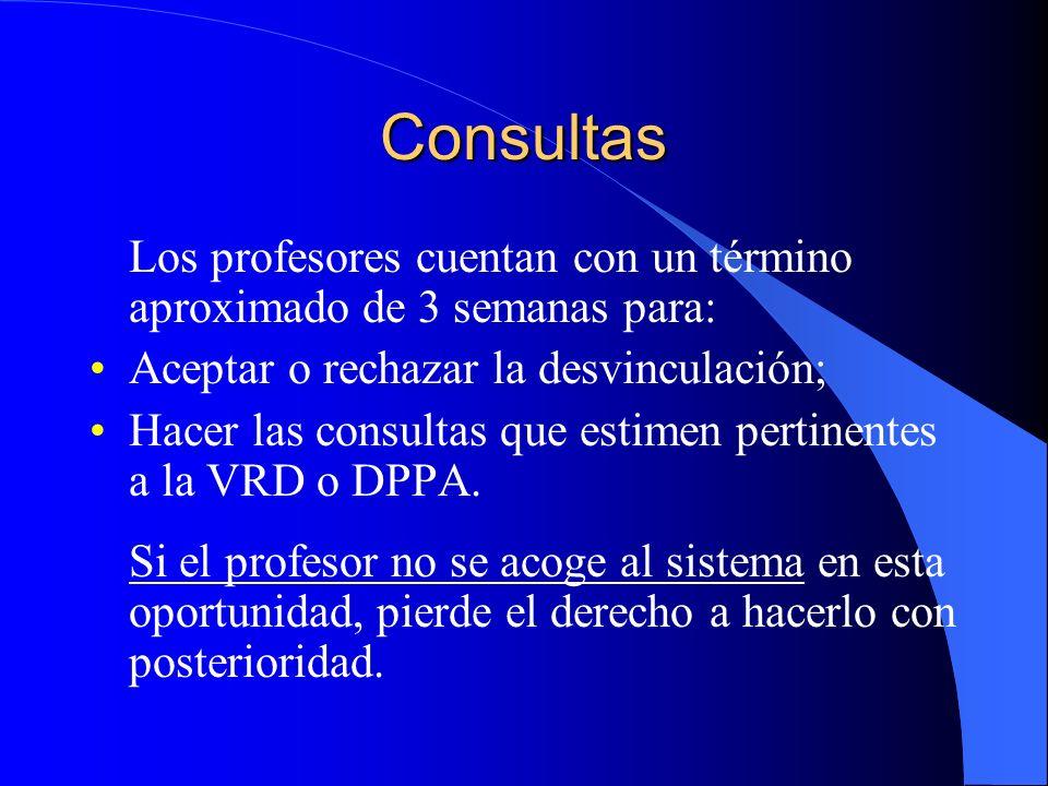 Consultas Los profesores cuentan con un término aproximado de 3 semanas para: Aceptar o rechazar la desvinculación;