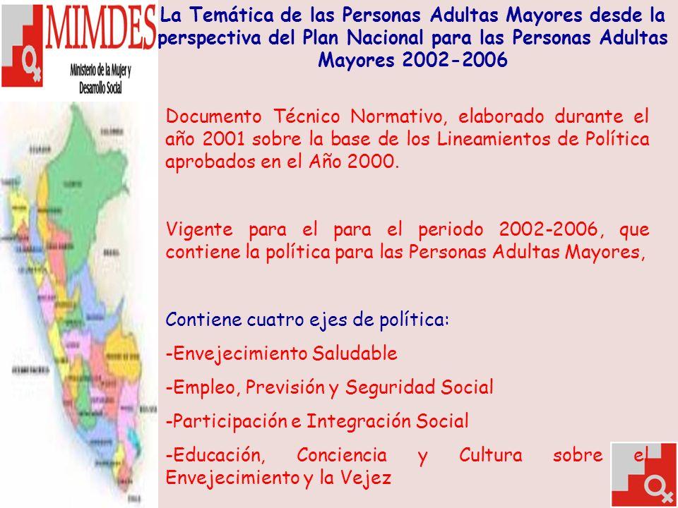 La Temática de las Personas Adultas Mayores desde la perspectiva del Plan Nacional para las Personas Adultas Mayores 2002-2006