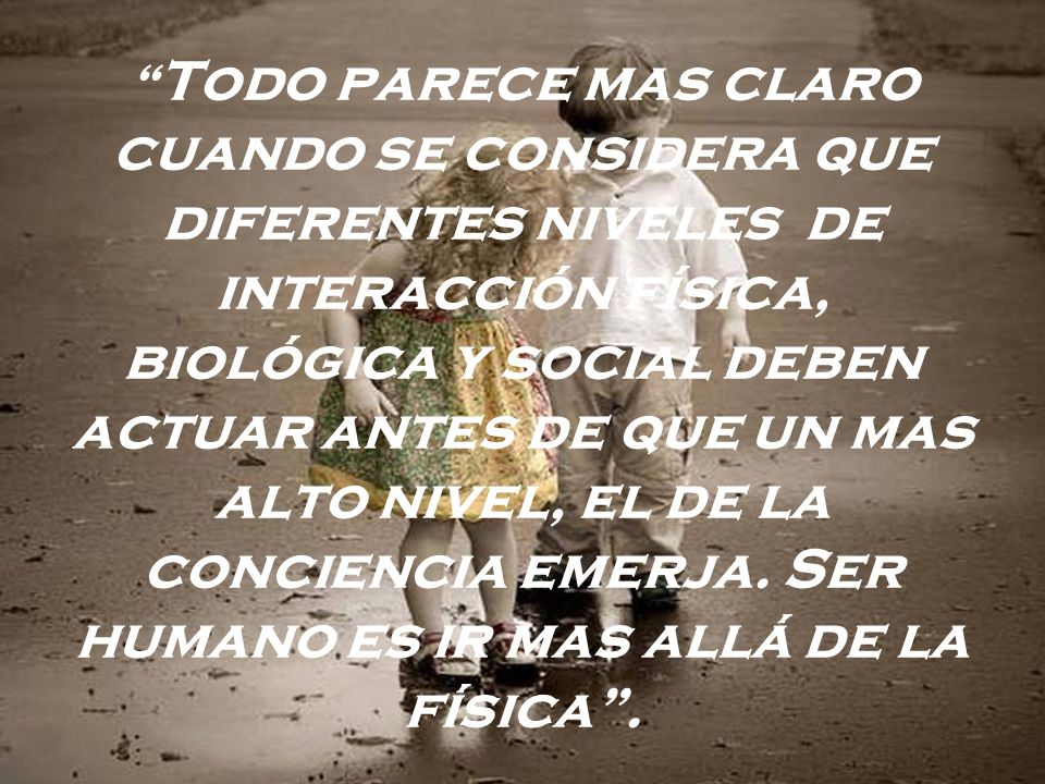 Todo parece mas claro cuando se considera que diferentes niveles de interacción física, biológica y social deben actuar antes de que un mas alto nivel, el de la conciencia emerja.