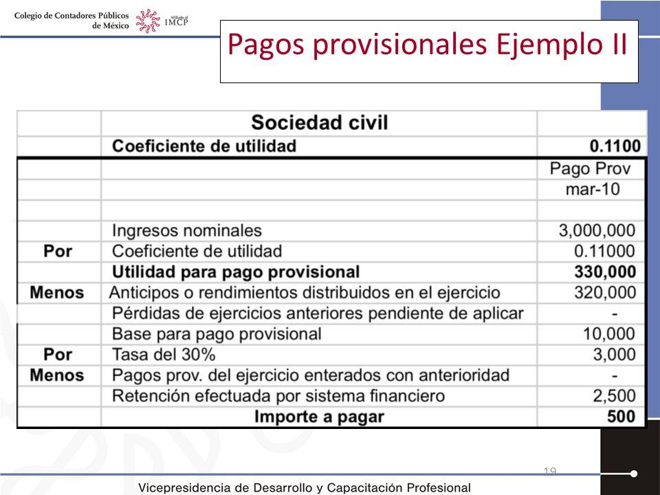 Pagos provisionales Ejemplo II