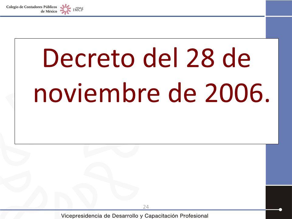 Decreto del 28 de noviembre de 2006.