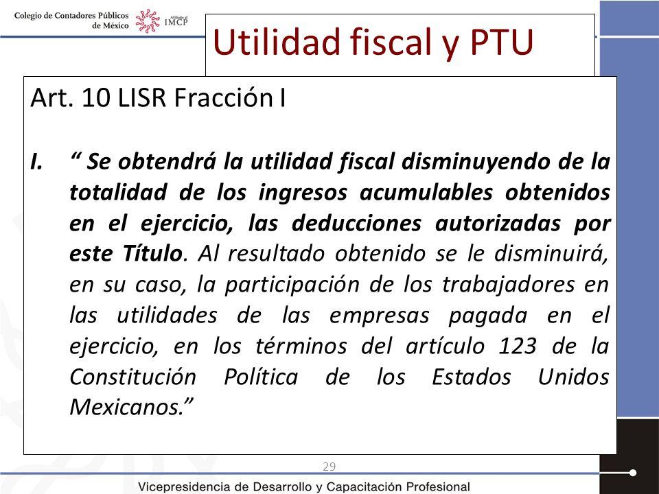 Utilidad fiscal y PTU Art. 10 LISR Fracción I