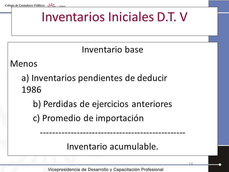 Inventarios Iniciales D.T. V