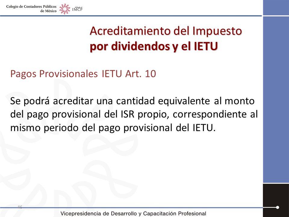 Acreditamiento del Impuesto por dividendos y el IETU