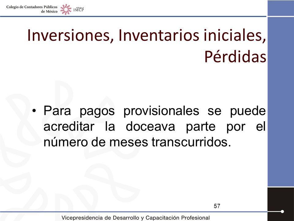 Inversiones, Inventarios iniciales, Pérdidas