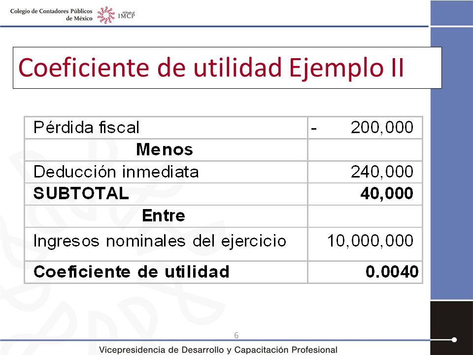 Coeficiente de utilidad Ejemplo II