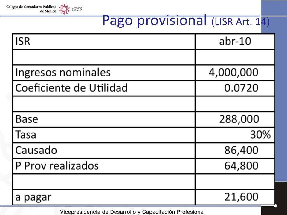 Pago provisional (LISR Art. 14)