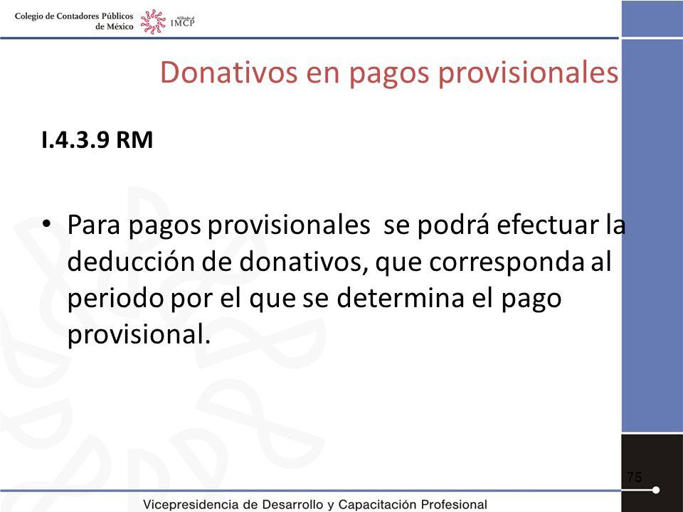 Donativos en pagos provisionales