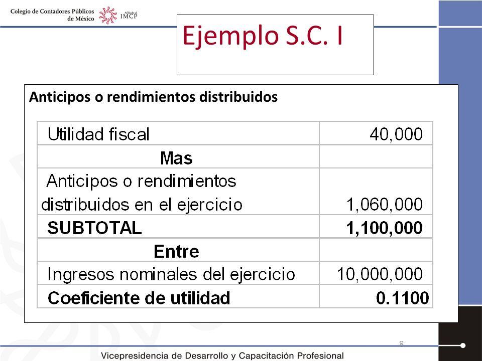 Ejemplo S.C. I Anticipos o rendimientos distribuidos
