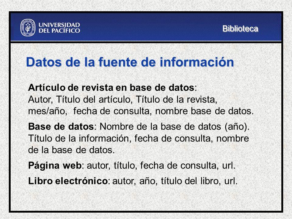 Datos de la fuente de información