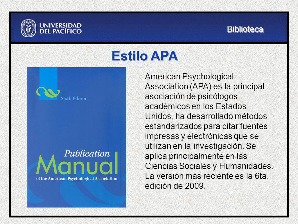 Biblioteca Estilo APA.