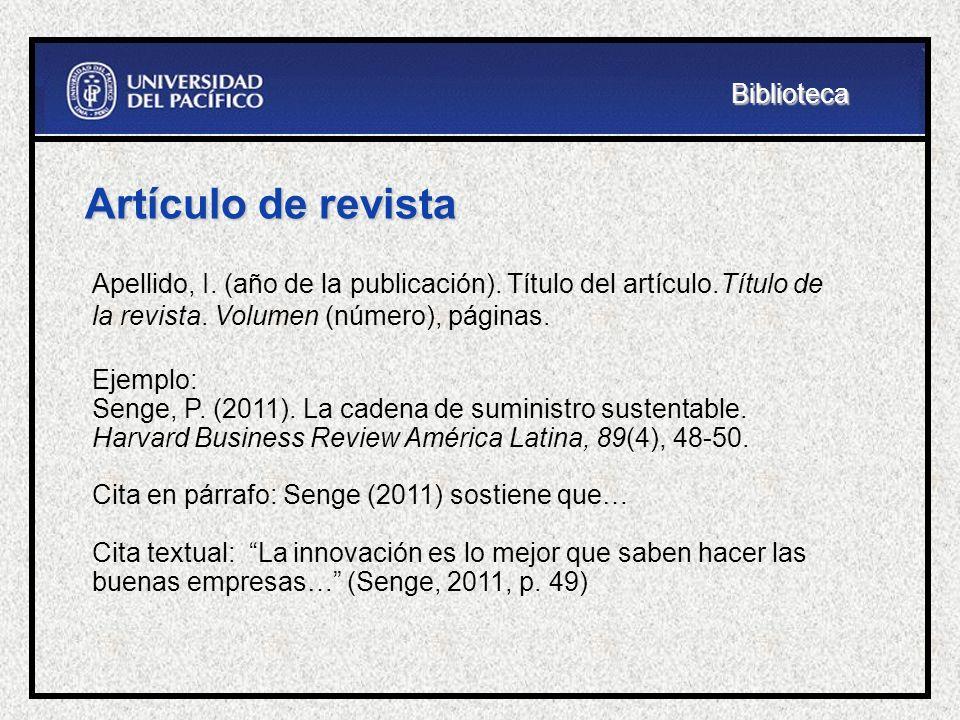 Artículo de revista Biblioteca