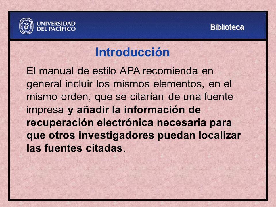 Biblioteca Introducción.