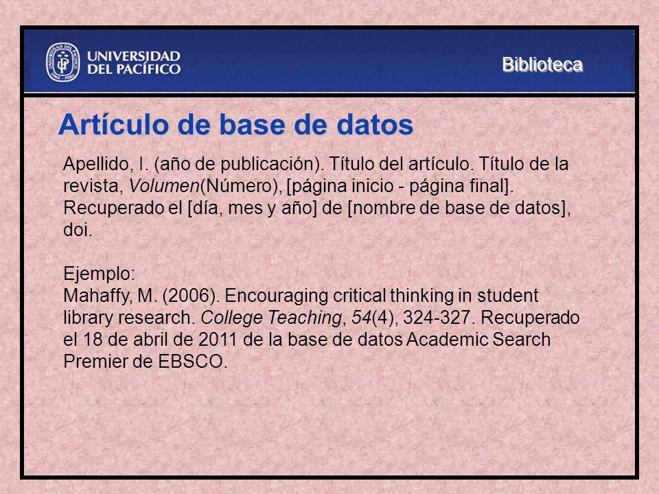 Artículo de base de datos