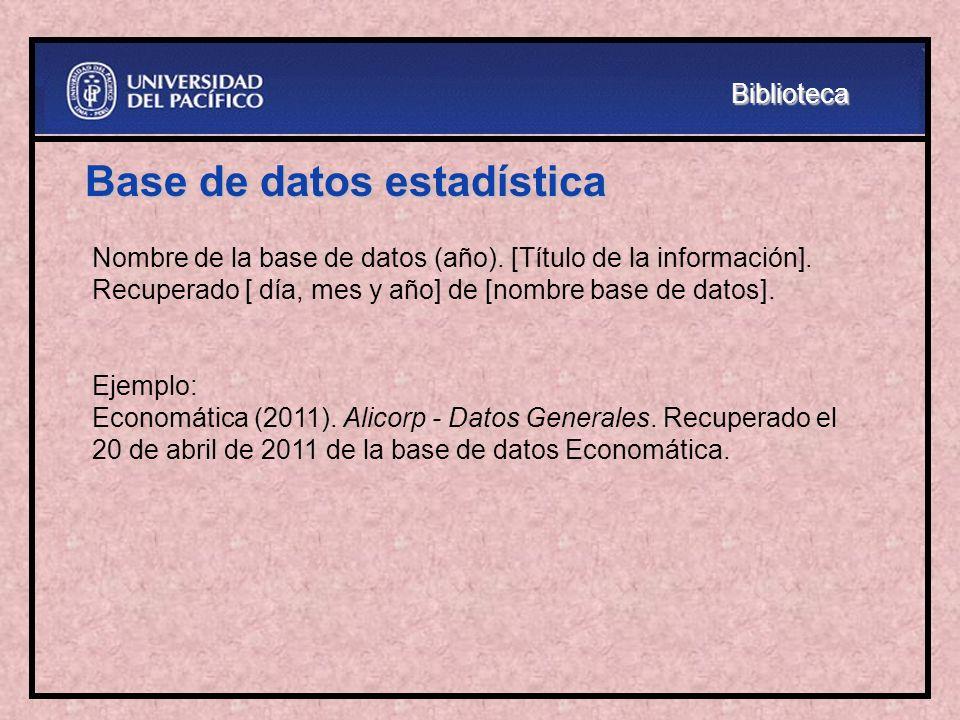 Base de datos estadística