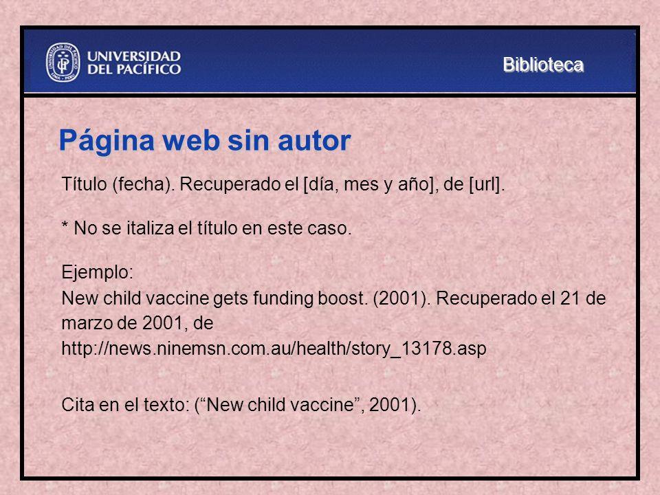 Página web sin autor Biblioteca