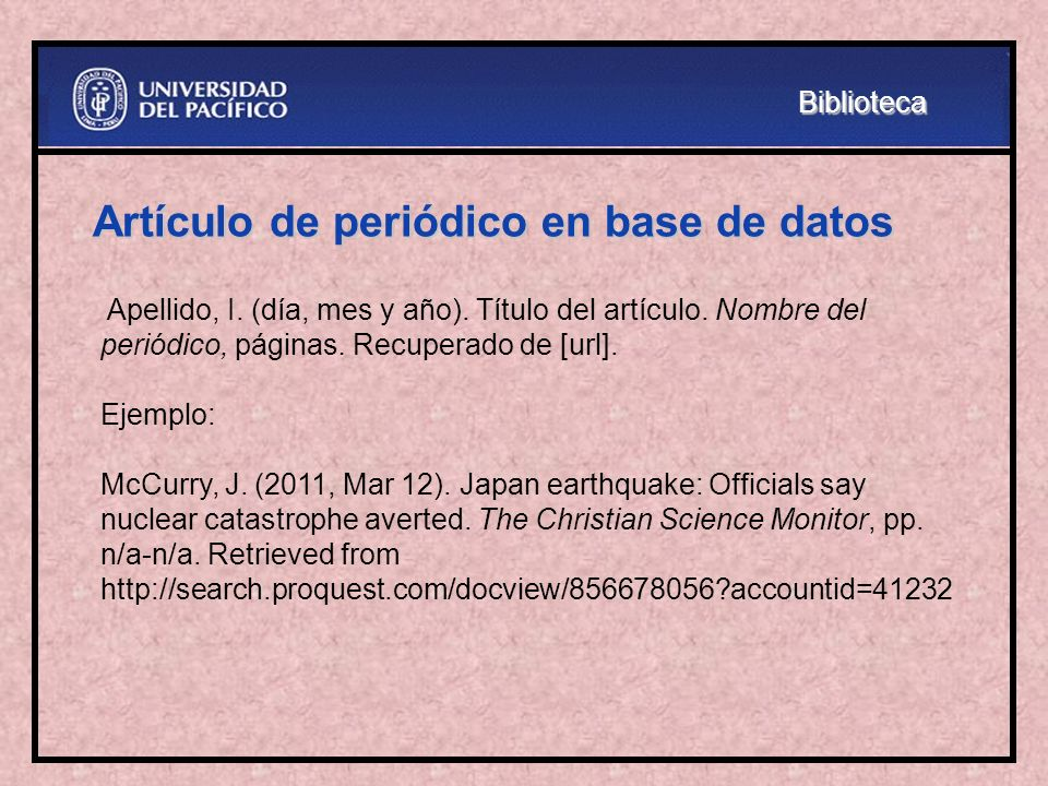 Artículo de periódico en base de datos