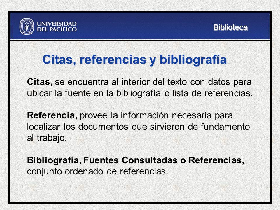 Citas, referencias y bibliografía