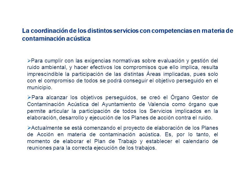 La coordinación de los distintos servicios con competencias en materia de contaminación acústica