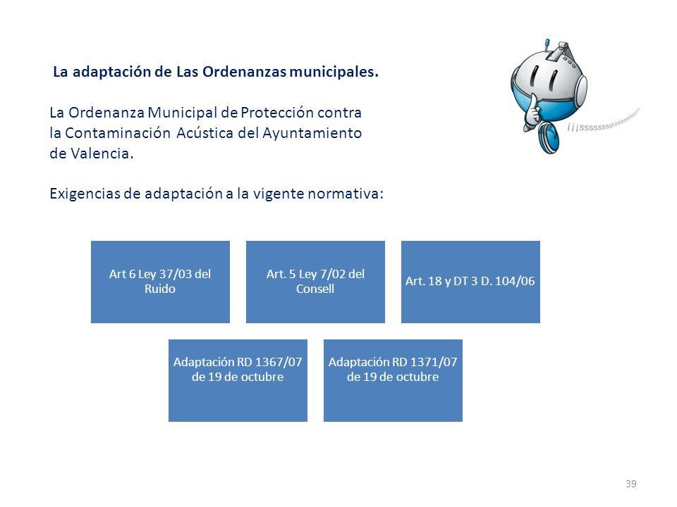 La adaptación de Las Ordenanzas municipales.