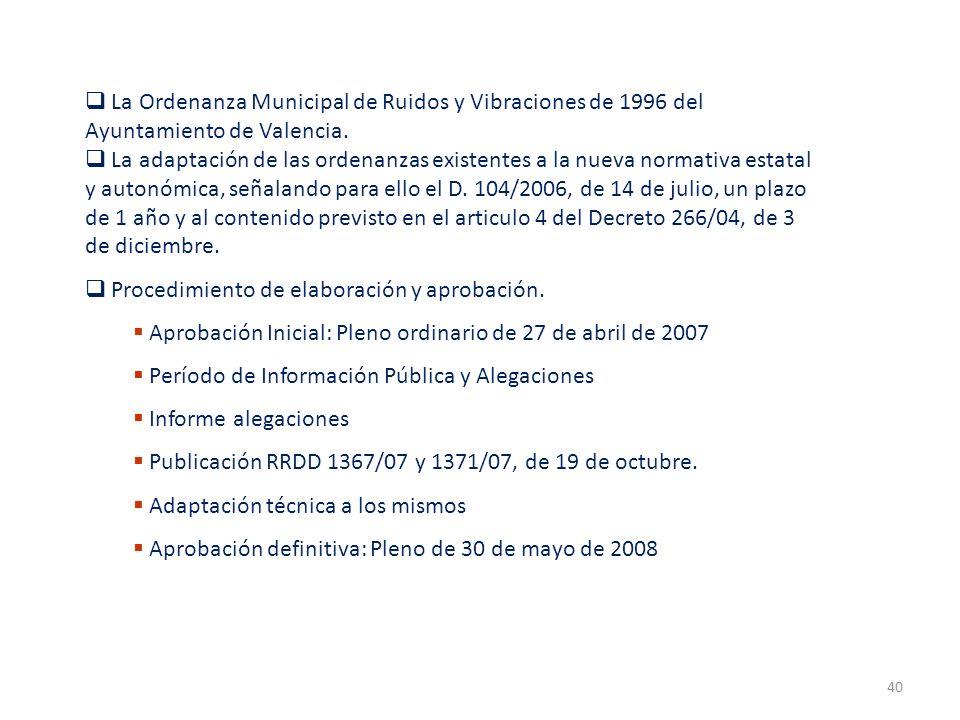 La Ordenanza Municipal de Ruidos y Vibraciones de 1996 del Ayuntamiento de Valencia.