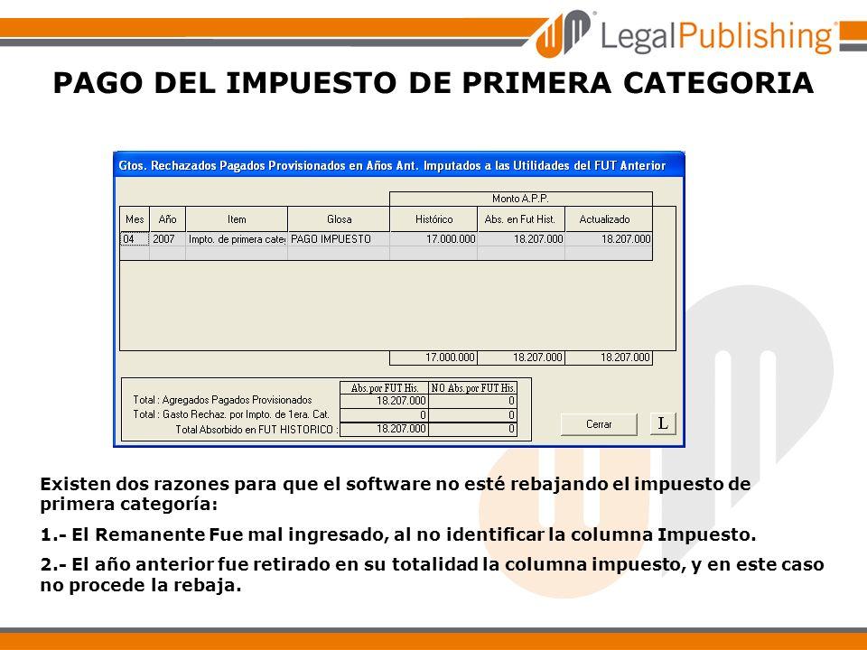 PAGO DEL IMPUESTO DE PRIMERA CATEGORIA