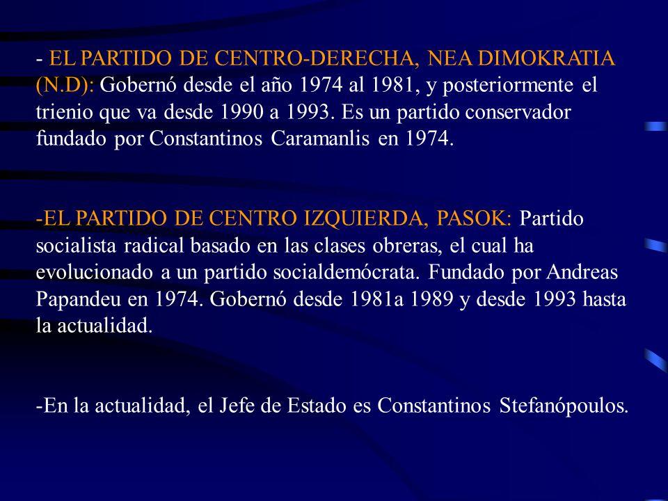 - EL PARTIDO DE CENTRO-DERECHA, NEA DIMOKRATIA (N