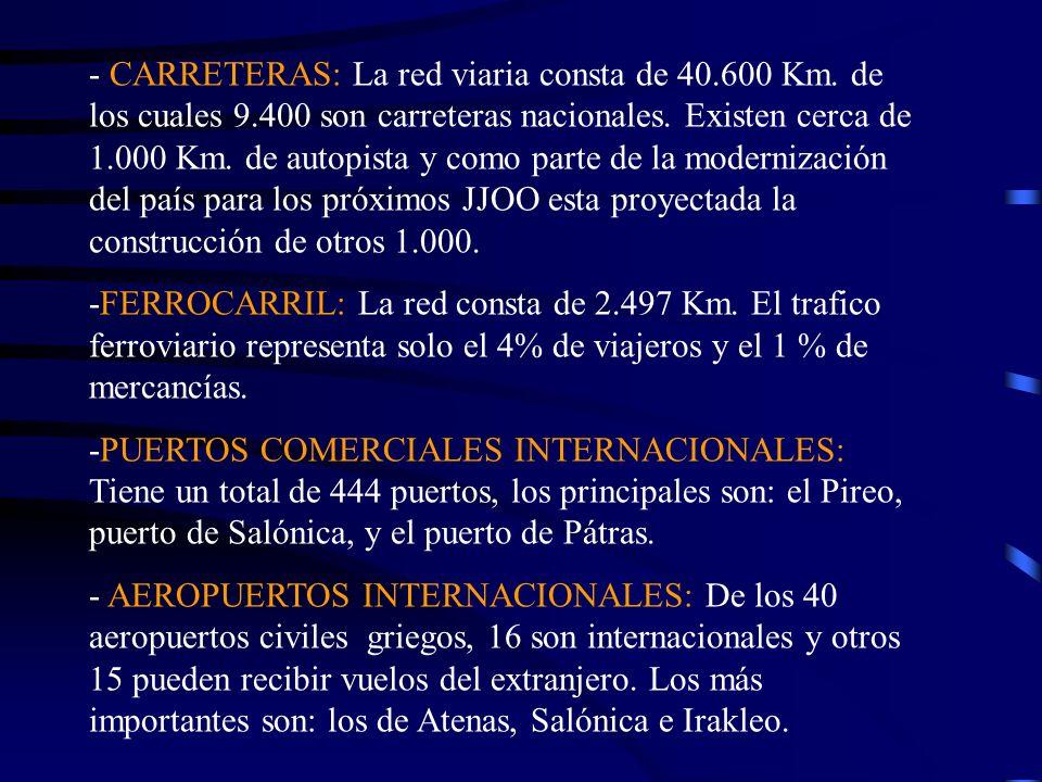 - CARRETERAS: La red viaria consta de 40. 600 Km. de los cuales 9