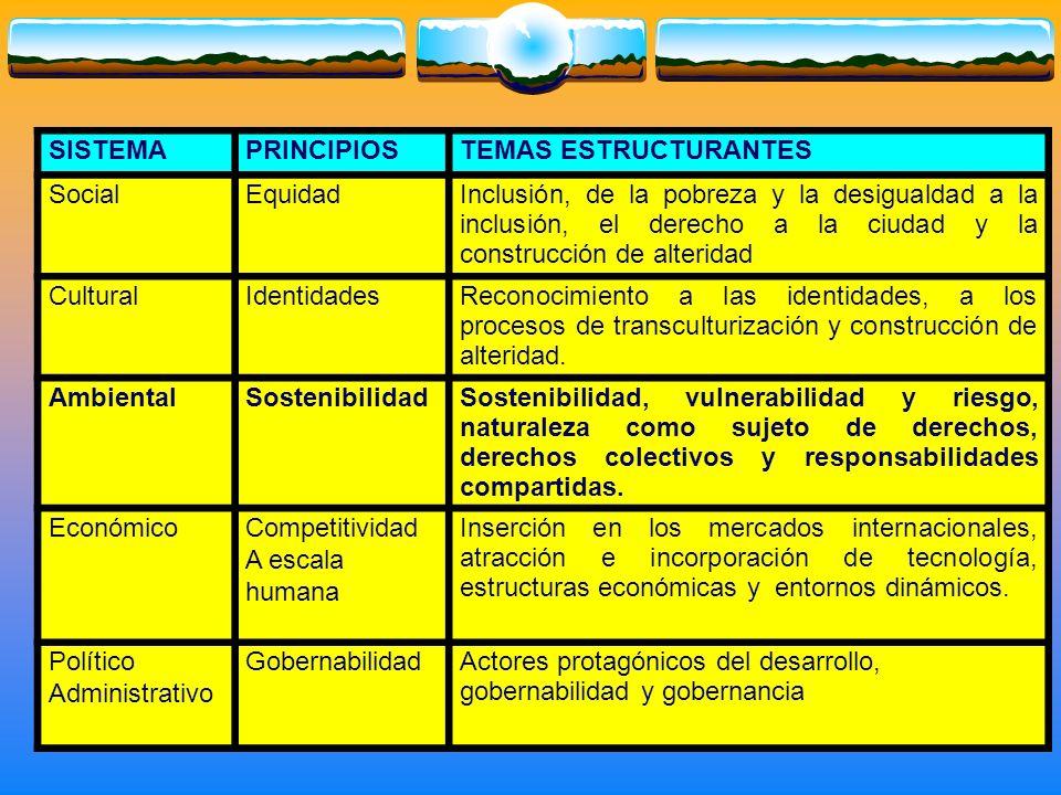 SISTEMA PRINCIPIOS. TEMAS ESTRUCTURANTES. Social. Equidad.