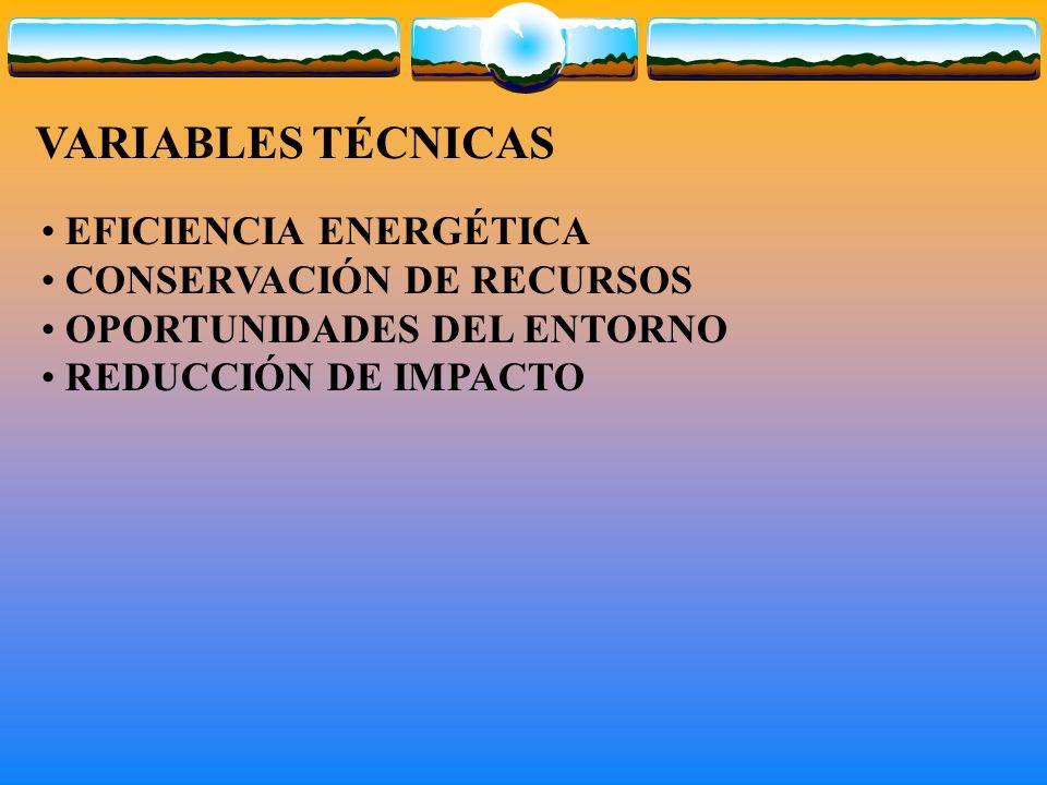 VARIABLES TÉCNICAS EFICIENCIA ENERGÉTICA CONSERVACIÓN DE RECURSOS