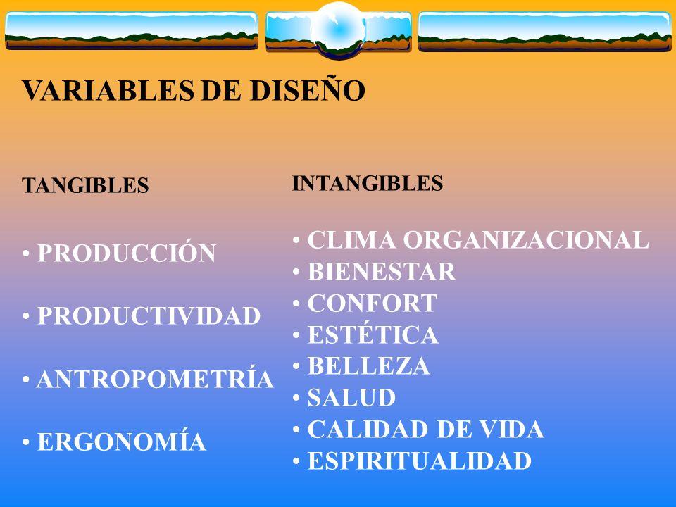 VARIABLES DE DISEÑO PRODUCCIÓN PRODUCTIVIDAD CLIMA ORGANIZACIONAL