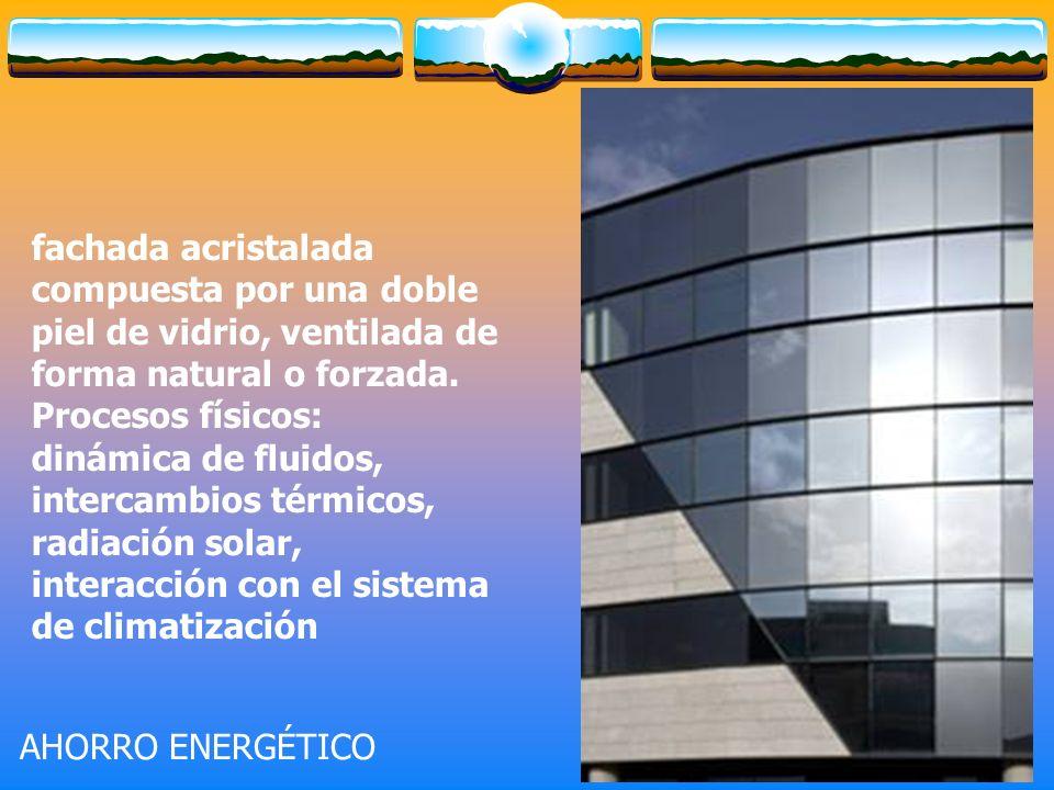 fachada acristalada compuesta por una doble piel de vidrio, ventilada de forma natural o forzada.