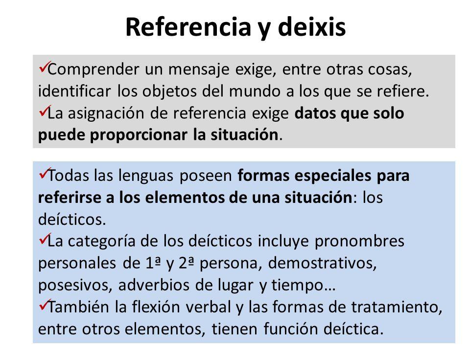 Referencia y deixis Comprender un mensaje exige, entre otras cosas, identificar los objetos del mundo a los que se refiere.