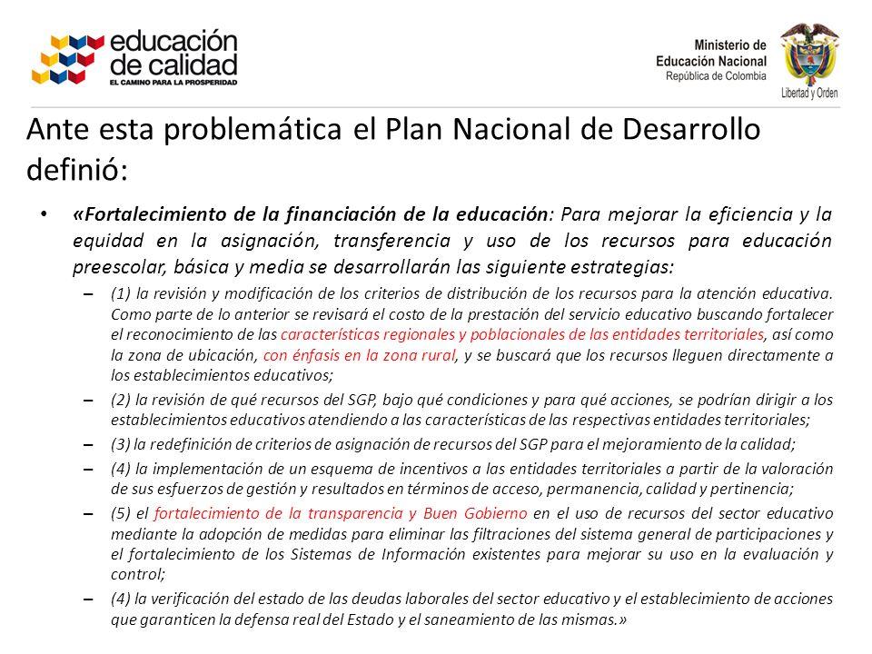 Ante esta problemática el Plan Nacional de Desarrollo definió: