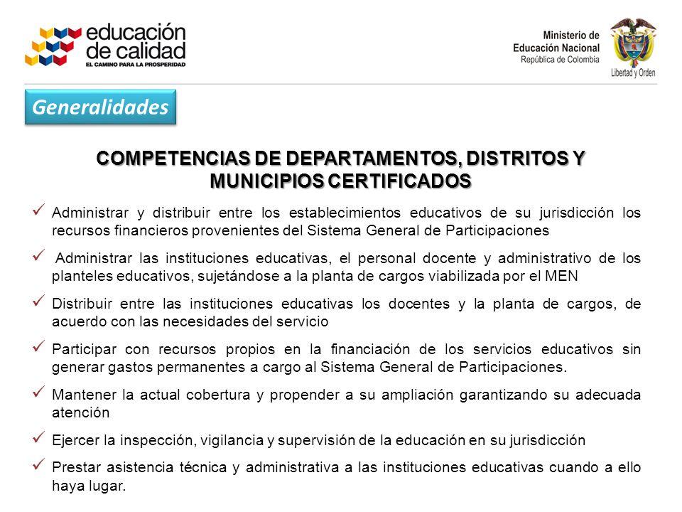 COMPETENCIAS DE DEPARTAMENTOS, DISTRITOS Y MUNICIPIOS CERTIFICADOS
