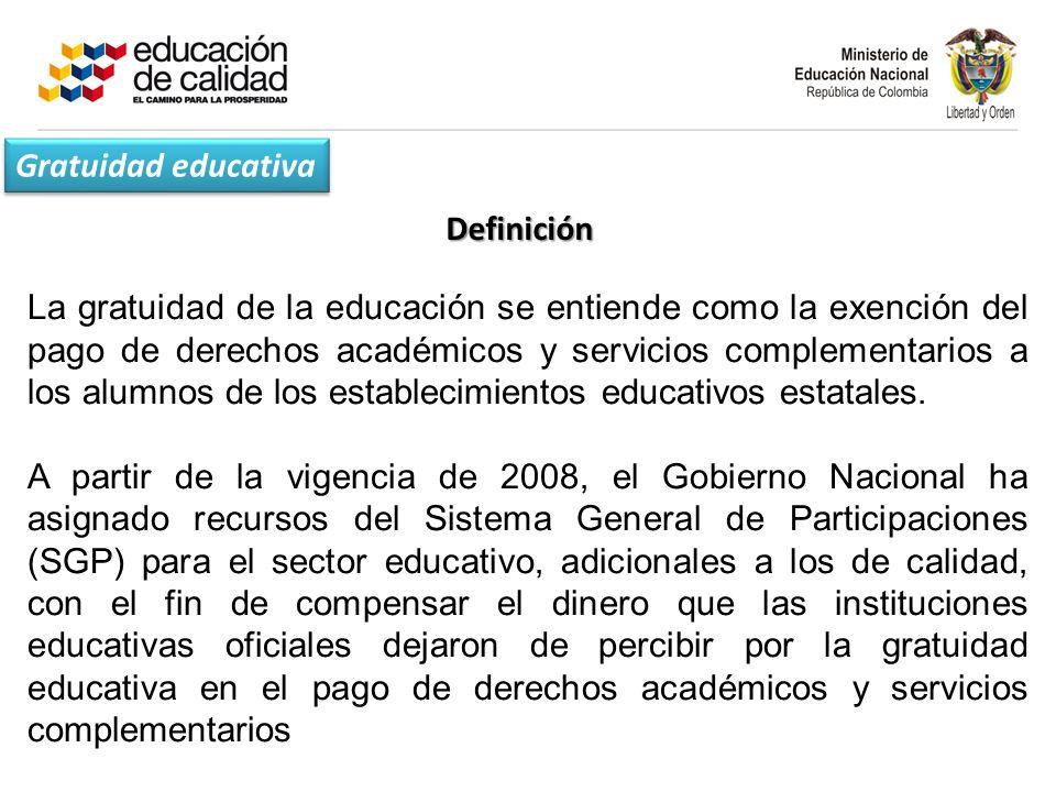 Gratuidad educativa Definición.