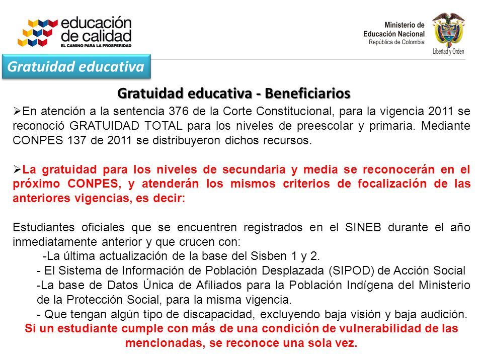 Gratuidad educativa - Beneficiarios