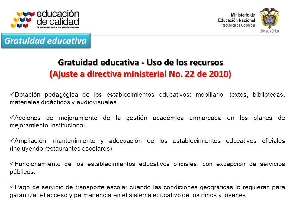 Gratuidad educativa - Uso de los recursos