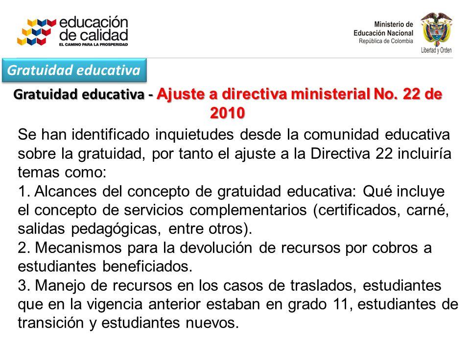 Gratuidad educativa - Ajuste a directiva ministerial No. 22 de 2010