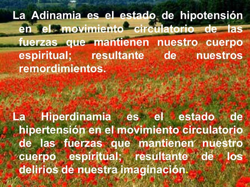 La Adinamia es el estado de hipotensión en el movimiento circulatorio de las fuerzas que mantienen nuestro cuerpo espiritual; resultante de nuestros remordimientos.