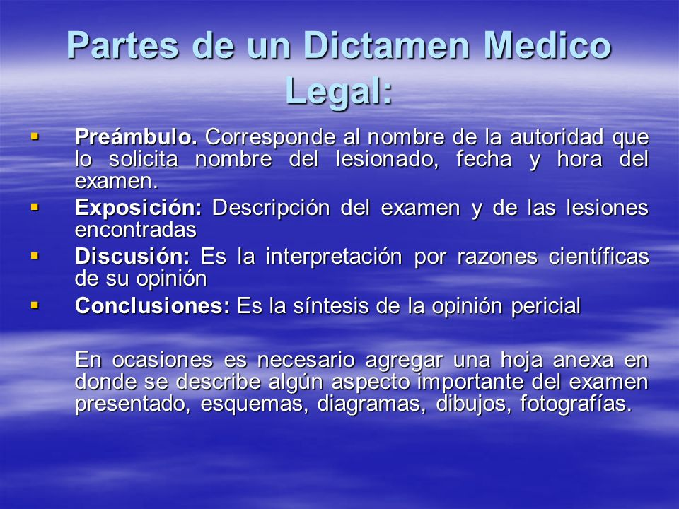 Partes de un Dictamen Medico Legal: