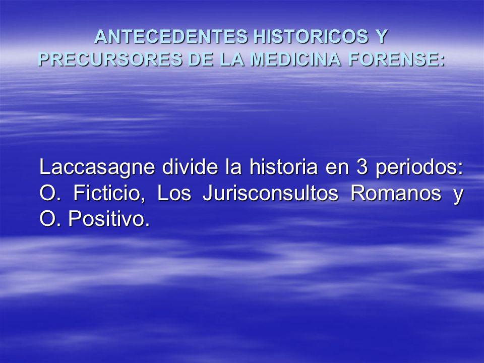 ANTECEDENTES HISTORICOS Y PRECURSORES DE LA MEDICINA FORENSE: