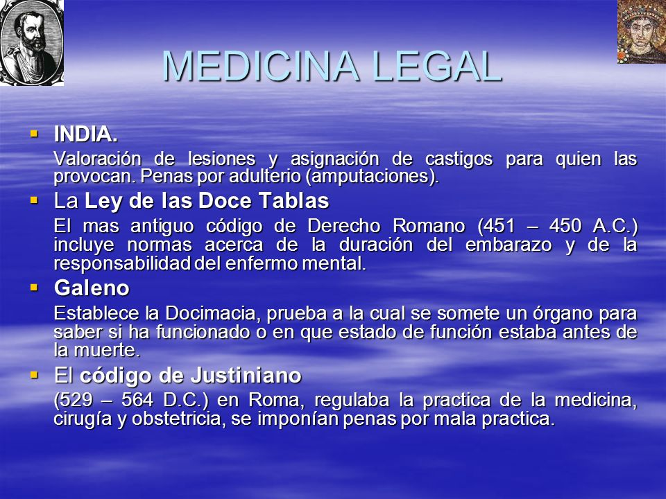 MEDICINA LEGAL INDIA. La Ley de las Doce Tablas Galeno