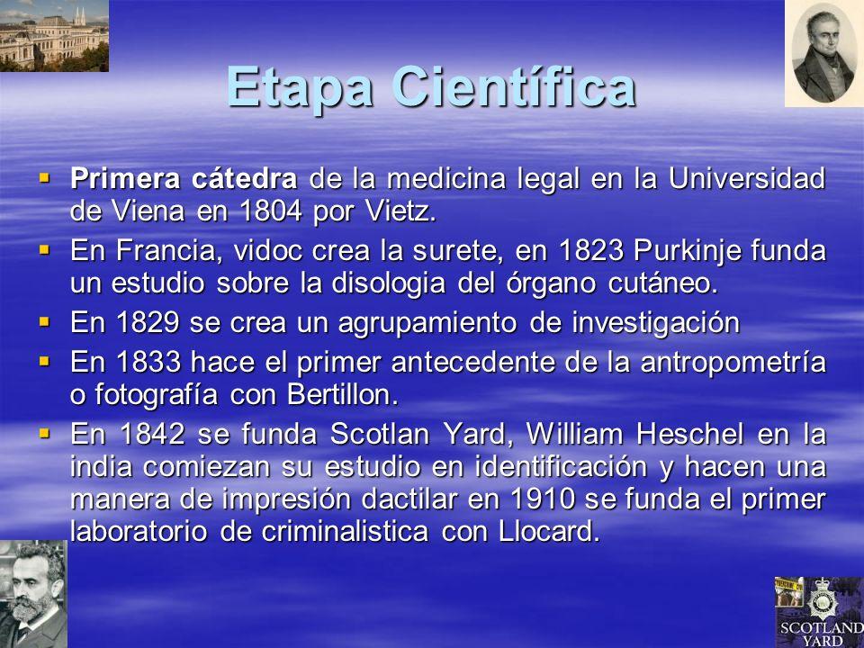 Etapa Científica Primera cátedra de la medicina legal en la Universidad de Viena en 1804 por Vietz.