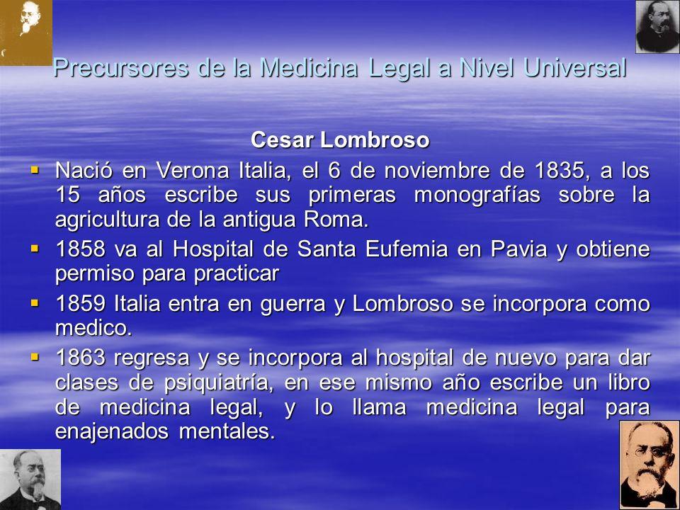 Precursores de la Medicina Legal a Nivel Universal